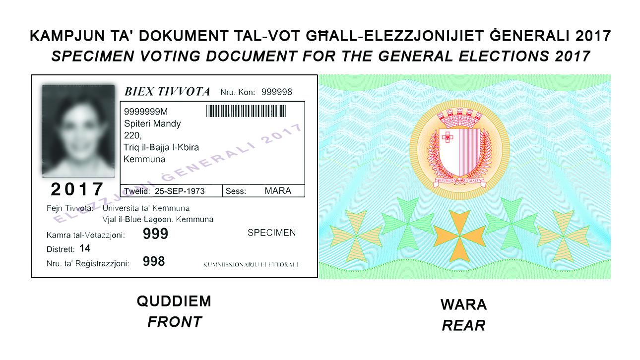 Specimen Voting Document